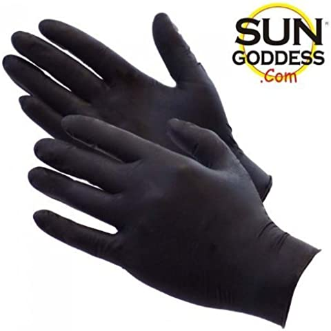 Sun Goddess - Sunless Self Tanning - Black Latex Application Gloves + FREE SHIPPING! + FREE BONUS: Includes FREE Sun Goddess Sunless Self Tanning Application Mitt Applicator & FREE Sample of our Sun Goddess Sunless Self Tanning Lotion! Sun Goddess - The World's Best and Darkest Sunless Self Tanning Lotion Tanner by Unknown