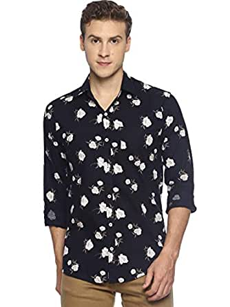 LEVIZO Men's Cotton Printed Full Sleeves Regular Fit Shirt (Navy; Medium)
