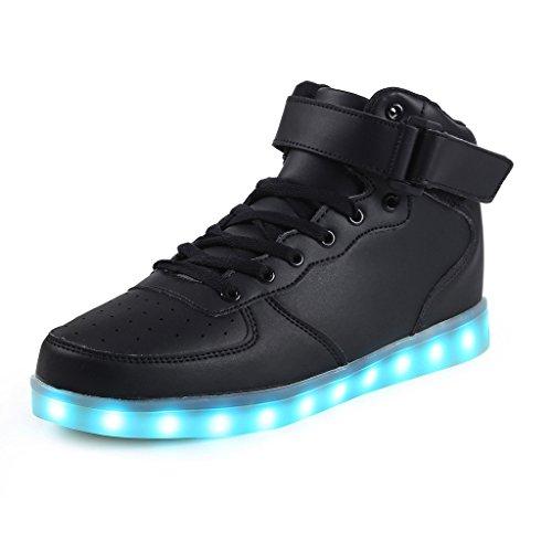 ukStore Unisex Erwachsene High-Top LED Sneaker Sportschuhe USB Lade Outdoor Schuhe, schwarz 41EU