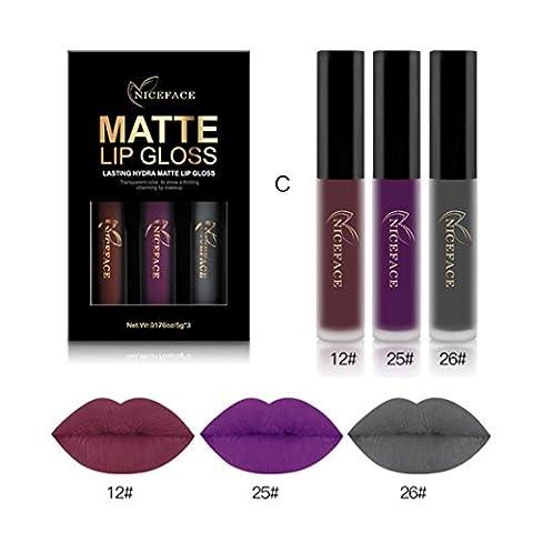 Ularma 3pcs Nouveau Mode Matte imperméable Rouge à lèvres liquide Cosmétiques Kit sexy Lip Gloss C