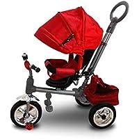 MWS LT 857 Triciclo con pedales para bebés con asiento giratorio varios colores (Rojo)