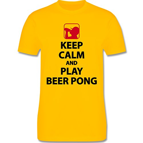 Shirtracer Festival - Keep Calm and Play Beer Pong - Herren T-Shirt Rundhals Gelb