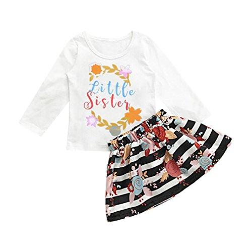 Longra Mädchen Kleider Kleinkind Baby Kinder Mädchen Outfits Brief Langarm T-Shirt Tops + Streifen Floral Rock Set Kinderkleidung (White, 110CM 3Jahre) (Streifen-bermuda-shorts)