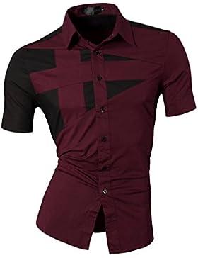 Jeansian Speciali Uomini Camicie Moda Design Uomo Camicie Tempo libero Slim Collare manica corta Z002