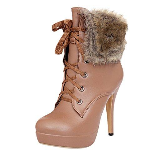 YE Plateau High Heel Stiletto Schnürstiefeletten mit Fell Elegant Fashion 12 cm Absatz Warm Gefütterte Herbst Winter Damenstiefel Hellbraun