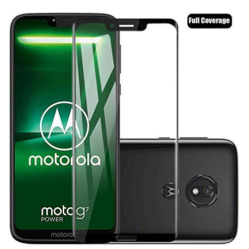 Voviqi Motorola Moto G7 Power Panzerglas, Hüllenfre&lich Vollständige Abdeckung Schutzfolie gehärtetem Glas Folie Blasenfrei Volle Abdeckung Bildschirmschutzfolie für Motorola Moto G7 Power (Schwarz)