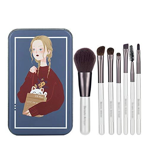 ZYFF huazhuangshua Pinceaux de maquillage, 7 Pcs Cadeau Pinceau Beauté Set Pinceau Cosmétique Collection Fondation Fard À Paupières Mélange Contour Conceal Blush, avec Iron Box, pour Dames, 3 Couleurs