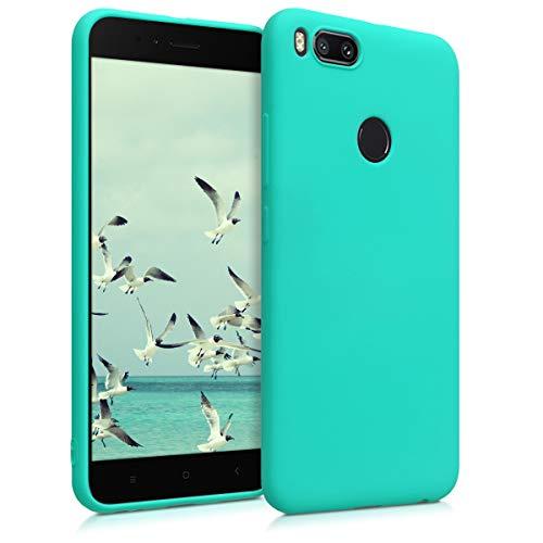 kwmobile Funda para Xiaomi Mi 5X / Mi A1 - Carcasa para móvil en TPU Silicona - Protector Trasero en Turquesa neón