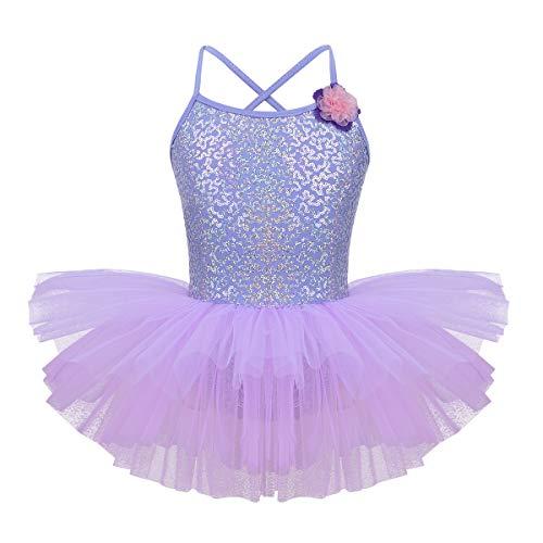 iixpin Mädchen Pailletten Ballettkleider Lavendel Prinzessin Tütü Rock Süß Lila Ballettanzug glänzend Tanzkleider Kinder Blumen Party Festlich Kleider Lavender 152 -