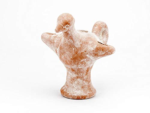 Forum Traiani Öllampe Vogel mit Fuß aus Israel mit Dochten | Reenactment Qualität aus Ton | Archäologische Living History Museum Replik -