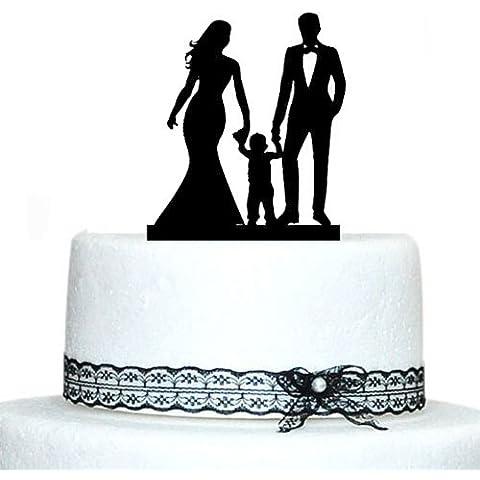 Acrilico con scritta Bride and Groom-Wedding Cake Toppers-Topper decorativo per torta, motivo: profilo di