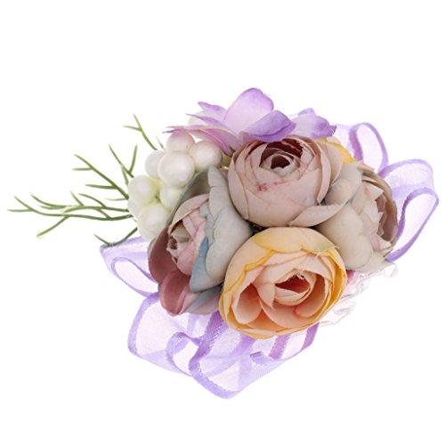MagiDeal Handgelenk Corsage Armband Hand Blumen Hochzeit Prom Schmuck - Lila, 9 x 7 x 3,5 cm
