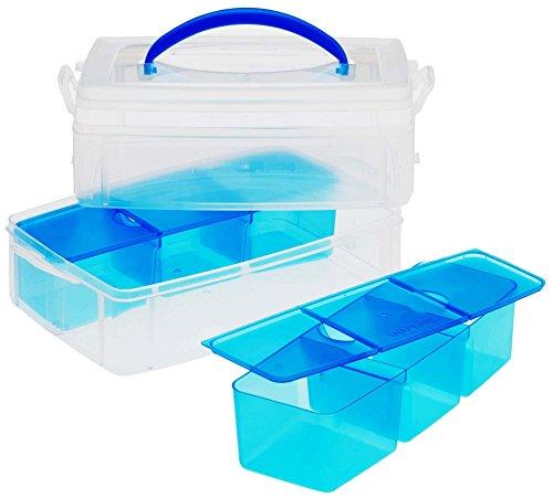 Snapware - Contenitore Snap and Stack di plastica rettangolare a 2 piani, con 6 inserti divisori, 15,2 x 22,9 cm, trasparente - Plastica Trasparente Inserti