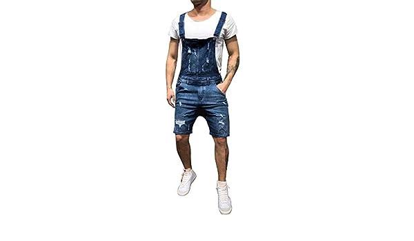 Oeak Salopette Pantalon Courte Homme Jeans DechiréShort rCexBWQdo