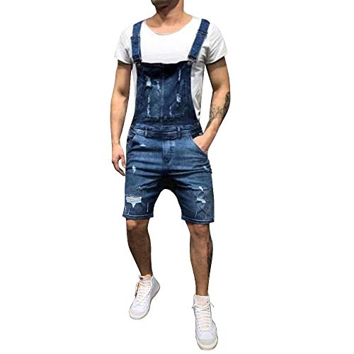 Dihope - Vaquero - Pantalones de Peto - para Hombre Bleu Foncé 2 Small (Talla de Fabricante M)