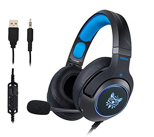 qka cuffie ps4, cuffie da gioco per pc cuffie auricolari con microfono luce led a cancellazione di rumore per laptop mac nintendo switch nuova xbox one ps4,blue
