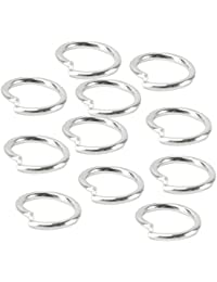 Pinzhi 20 pares de mujeres de plata de color tono ronda aro pendientes anillo 6 mm joyas haciendo regalos