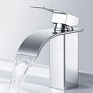 Wasserhahn Wasserfall Bad, Derpras Waschtischarmatur für Bad, Einhandmischer Armatur, Keramikventil, Kaltes und Heißes Wasser Vorhanden, Verchromung, Moderner Stil