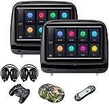XTRONS 5,1x 22,9cm Paire écran Tactile de Voiture Auto Appui-tête Lecteur DVD Jeu vidéo Full HD 1080p Port HDMI intégré Écouteurs Inclus