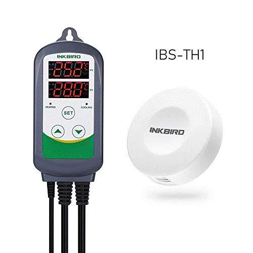Inkbird Kombinationsset ITC-308 Temperaturregler & IBS-TH1 Temperatur und Luftfeuchtigkeit Drahtloser Bluetooth-Thermometer/Hygrometer-Datenlogger