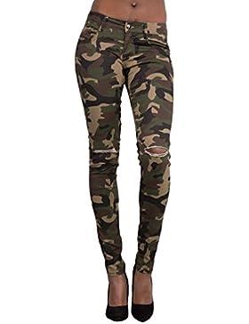 Dooxi Mujer Casual Skinny Slim Lápiz Pantalones Moda Elásticos Rotos Pantalones Leggings