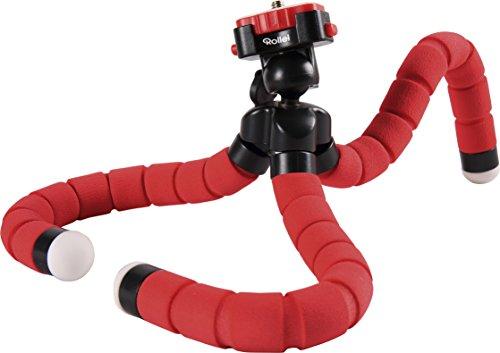Rollei Monkey Pod - Treppiede da Tavolo Compatto e Flessibile, compatibile con DSLM, Fotocamere compatte, Actioncamera, Macchine a 360° e Smartphones, incl. Testa a sfera per rotazione a 360° - Rosso