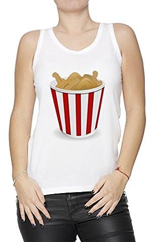 Frit Poulet Blanc Coton Femme Débardeur T-shirt Col Ras Du