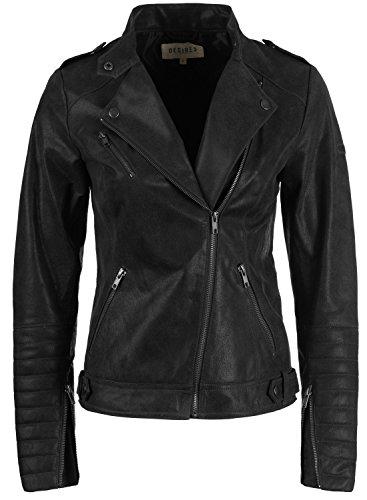 Desires Zalla Chaqueta De Cuero Cazadora de Piel para Mujer con Cuello De Solapa De Cuero Real, tamaño:XL, Color:Black (9000)