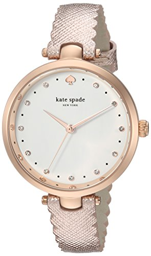 kate spade New York Women's 'Holland' Quartz Stainless Steel and Leather Casual Watch, Color:Rose Gold-Toned (Model: KSW1402)