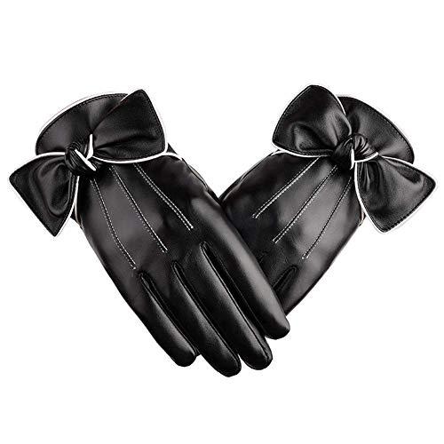 Womens Leder Keep Warm Gloves - PU Leder Winter kann Touch Screen Handschuhe, Luxus Bow-Knot Leder warme Handschuhe für Frauen Schwarz