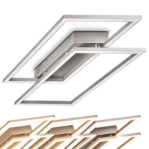Dimmbare LED Deckenleuchte Veyrier, Metall in Stahl gebürstet, LED Zimmerlampe im futuristischen Design, 2-flammige Wohnzimmerlampe, 3000 Kelvin, 1350 Lumen, stylische Deckenlampe, Flurlicht