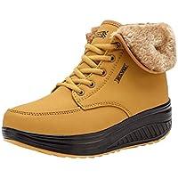 Botas de Invierno Botas de Nieve Femeninas de Tobillo de Felpa Zapatos Cómodos Cuñas Botas de Plataforma Zapatillas de Deporte Zapatillas con Cordones Zapatillas para Correr