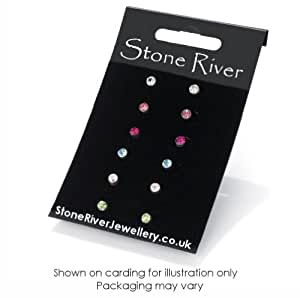 Stone River Jewellery Crystal 4mm Stud Earrings Multi Colour 6 pack - Crystal, Pink, Fuschia, Aqua, Crystal AB, Peridot Green
