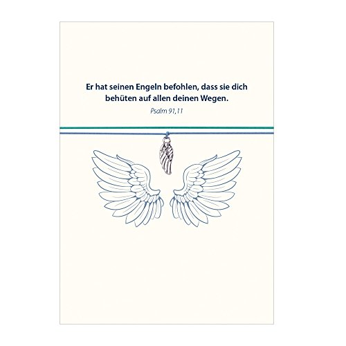 Armband - Gott schütze Dich mit Engelsflügel versilbert, mit 2 auswechselbaren Bändern in türkis und hellblau und liebevoller Karte mit Psalm