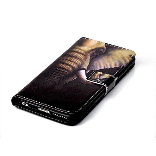 Coque pour iPhone 6 Plus, Etui pour iPhone 6S Plus, ISAKEN Peinture Style PU Cuir Flip Magnétique Portefeuille Etui Housse de Protection Coque Étui Case Cover avec Stand Support et Carte de Crédit Slo Éléphant Dents