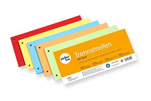 perfect line 100 Stück Papier-Trennstreifen bunt, Register-Trenner in 5 Intensiv-Farben, Trenn-Blätter farbig sortiert, Karten 180 g/m², bunte Laschen für perfektes Trennen der DIN-A4 Ordner & Akten