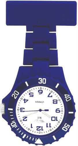 Prince-London-NY-New-York-rubberised-plastic-nurses-fob-watch-with-pin-Dark-Blue-with-White-face