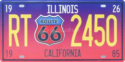 Route 66-Illinois RT 2450 California, automatische Kennzeichenbeleuchtung für Dekoration, geprägt, 15.24 cm, Größe Anhänger Nummer X 30.48 cm