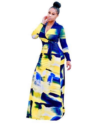 YiLianDa Vestito Lungo Estate Vestito V Collo Stampa Maniche Corte Donna Come immagine