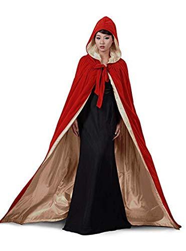 Unisex Weihnachten SAMT Halloween Hexe Party Reversible Kapuze Erwachsene Vampire Cape Umhang