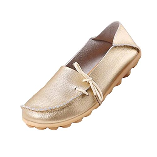Heheja Mocassins Femmes Loisirs Confort Chaussures Plates Loafers Chaussures de Conduite Or