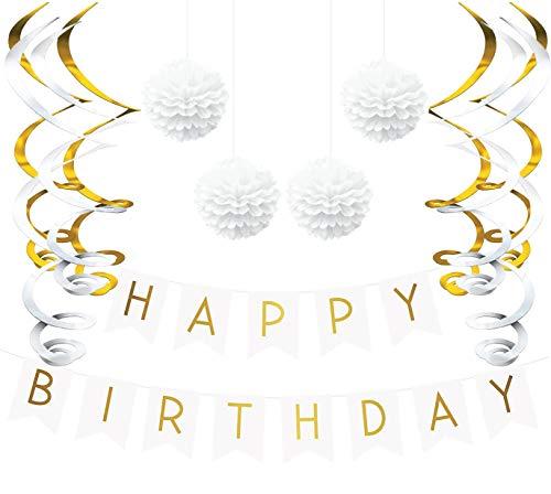 Sterling James Co.. - Deko Geburtstag Set, Weiße und Gold Girlande, Pom Poms und Spiralgirlande Silber - Party Zubehör 18. 30. 40. 50.