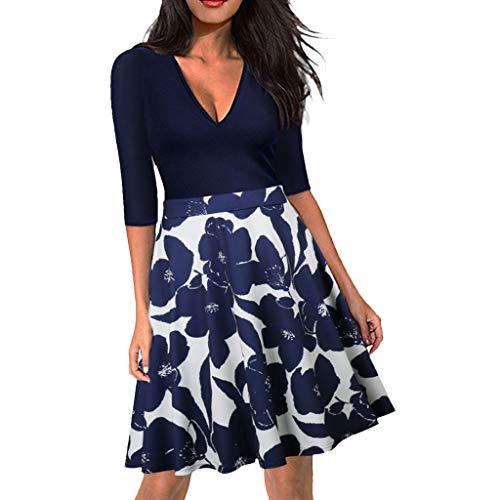 Aiserkly Mode Damen DREI Viertel gedruckt V-Ausschnitt knielangen Casual Dress Blau ()