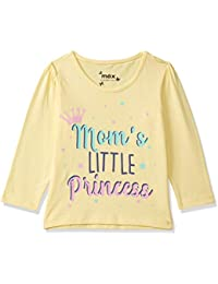 Max Baby Girl's Printed Regular fit T-Shirt (S20ABT10YELLOW_Yellow 18-24M)