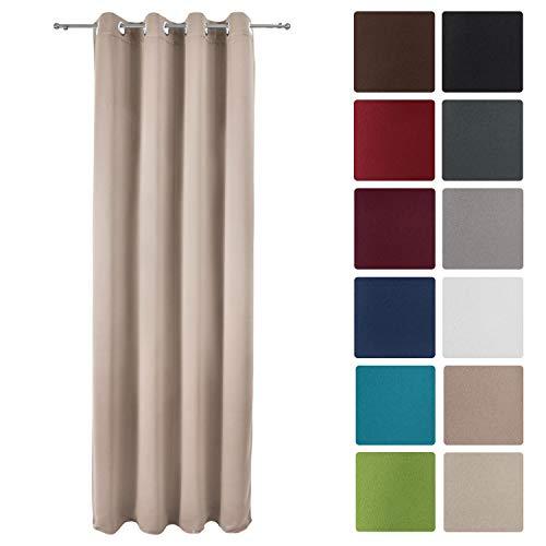 Beautissu tenda oscurante con occhielli serie amelie bo - 140x245 cm - sabbia - per finestre e balconi