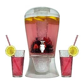 Large 2Gallon dispenser per bevande su supporto con beccuccio–Ice base e Core Keep succo e bevande fredde acrilico infrangibile–Brocca con frutta e infusore per tè e Spigot perfetto per feste