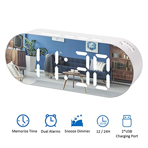 Reloj Despertador Digital LED Espejo