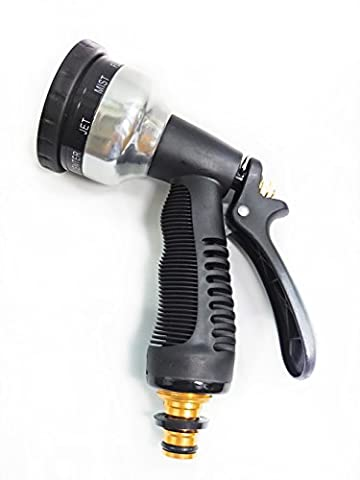 Topperone Pistolet d'arrosage, Buse de gros DUT Jardin Heavy Duty Tuyau haute pression réglable Spray Pulvérisateur réglable Multi Spray différents avec déclencheurs en métal robuste réglable 8différents avec gâchette