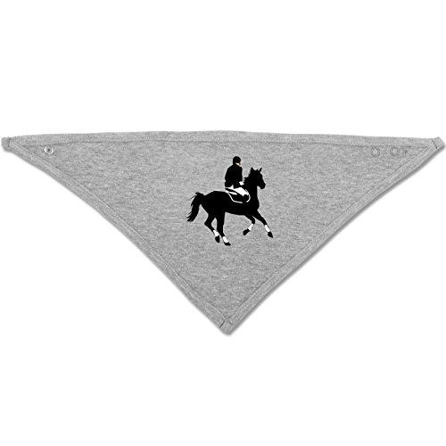 Sport Baby - Dressur Pferd Reiter Dressurreiten - Unisize - Grau meliert - BZ23 - Baby-Halstuch als Geschenk-Idee für Mädchen und Jungen (Reiter-silhouette)