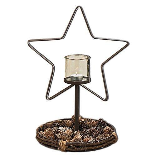 Teelichtständer in Sternform Stern aus Metall mit Glashalter für Teelicht oder Kerze -braun Rostoptik - von Haus der Herzen ® (Metall-sterne-haus)